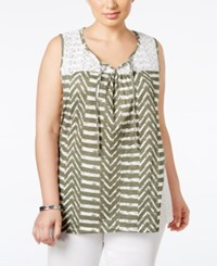 Styleandco. Style And Co. Plus Size Printed Sleeveless Peasant Top Only At Macy's Aztec Heather Olive