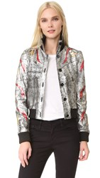Just Cavalli Star Leather Bomber Jacket Multicolor Variant