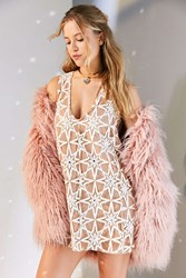 For Love And Lemons Metz Star Lace Mini Shift Dress Cream Multi