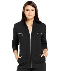 Style And Co. Sport Petite French Terry Zip Up Track Jacket Sugar Plum
