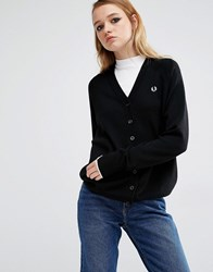 Fred Perry Merino Wool V Neck Cardigan Black