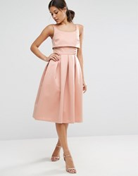 Asos Crop Top Prom Dress With Button Detail Pink