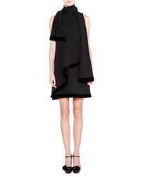 Giorgio Armani Velvet Trim Shift Dress W Scarf Black