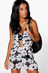 Boohoo Oversize Floral Lace Up Beach Playsuit Black