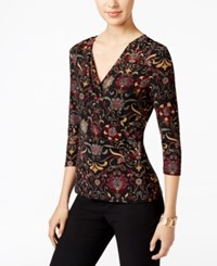 Charter Club Faux Wrap Floral Print Top Only At Macy's Deep Black Combo