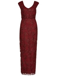 Gina Bacconi Corded Embroidery Oriental Floral Maxi Dress Wine