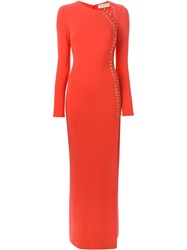 Emilio Pucci Front Slit Eyelet Long Dress Red