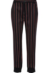 Rebecca Minkoff Bourdin Striped Wool Blend Straight Leg Pants Blue