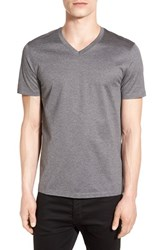 Boss Men's 'Teal' Slim Fit Mercerized Cotton V Neck T Shirt Grey