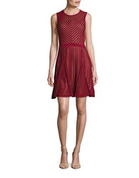 French Connection Sleeveless Mesh Accented Fit And Flare Dress Berry Red