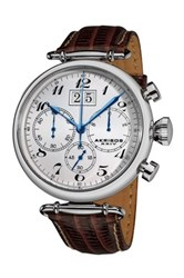 Akribos Xxiv Men's Chronograph Leather Strap Watch Beige