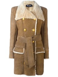 Balmain Double Breasted Buttoned Coat Nude And Neutrals
