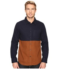 United By Blue Banff Color Block Wool Shirt Navy Brown Men's Clothing