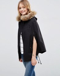 Asos Parka Cape With Faux Fur Hood Black