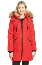 Women's Guess 'Expedition' Quilted Parka With Faux Fur Trim Fire