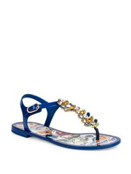 Dolce And Gabbana Maiolica Jeweled Flat T Strap Sandals Multi