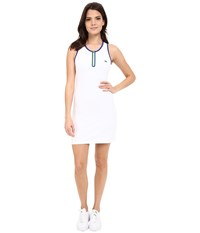 Lacoste Technical Sleeveless Mesh Back Tank Dress White Royal Blue Fluo Yellow Women's Dress