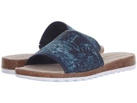 Hush Puppies Panton Jade Navy Leather Women's Slide Shoes Blue