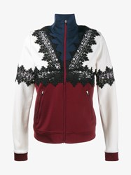 Ganni Lace Zip Up Sweatshirt Multi Coloured Burgundy Black Blue Cream