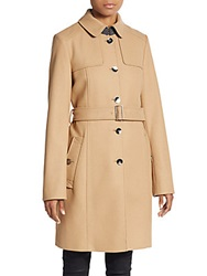 Hugo Boss Cadena Virgin Wool Blend Trench Coat Beige