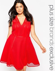 Forever Unique Plus Cage Detail Prom Dress Red