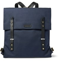 Miansai Santon Leather Trimmed Water Repellent Canvas Backpack Storm Blue
