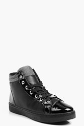 Boohoo Metallic Cuff High Top Black