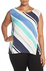 Plus Size Women's Sejour Crepe Georgette Shell Blue Regatta Stripe