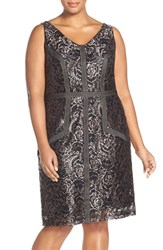 Plus Size Women's Brianna Embroidered Double V Neck Lace Sheath Dress