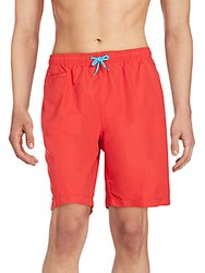Saks Fifth Avenue Red Solid Swim Trunks Bright Red