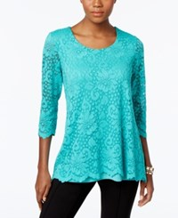 Jm Collection Lace Three Quarter Sleeve Top Only At Macy's Marmaid Green