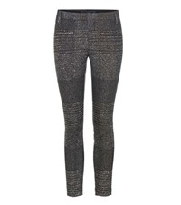 Haider Ackermann Metallic Cotton Blend Tweed And Leather Trousers Black