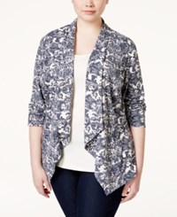 Stoosh Plus Size Draped Floral Print Blazer White Grey