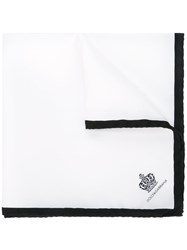 Dolce And Gabbana Crown Print Pocket Square White