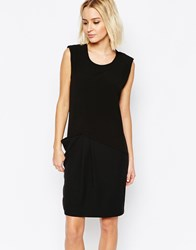 Selected Nala Sleeveless Dress With Drape Skirt Black