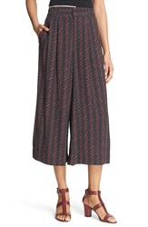 Apiece Apart Women's 'Taiyana Wabi' Wide Leg Crop Pants Navy Hatch Print