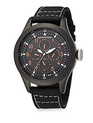Saks Fifth Avenue Gunmetal Ip Stainless Steel And Canvas Strap Chronograph Watch