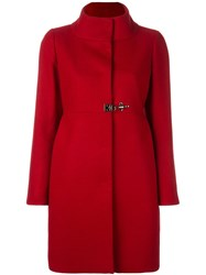 Fay Funnel Neck Midi Coat Red