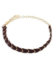 Ettika Punk Pony Leather And Chain Choker Brown Gold