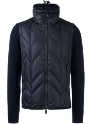 Moncler Grenoble Knit Sleeve Padded Jacket Blue