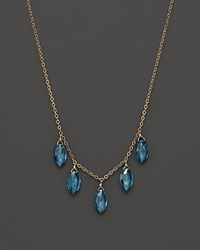 Bloomingdale's London Blue Topaz Station Necklace In 14K Yellow Gold 18