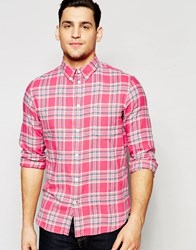 Paul Smith Jeans Shirt In Brushed Check In Tailored Slim Fit Pink