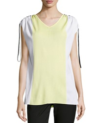 Ming Wang Colorblock V Neck Dolman Short Sleeve Tunic Lemon White Black