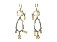 Alexis Bittar Crystal Encrusted Dangling Honeycomb Wire Earrings Ruthenium W 14K Gold Earring