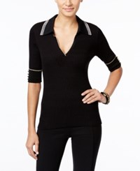 Inc International Concepts Collared Sweater Only At Macy's Black White