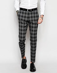 Asos Skinny Suit Pants In Plaid Check Gray