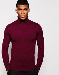 Reiss Merino Wool Roll Neck Jumper Bordeaux