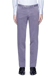 Isaia Garment Dyed Cotton Twill Chinos Purple