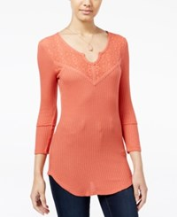 Almost Famous Juniors' Waffle Knit Top With Lace Back Burnt Orange