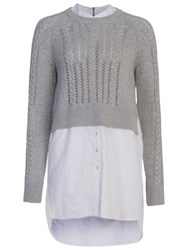 French Connection Crochet Cable Knit Jumper Shirt Light Grey White